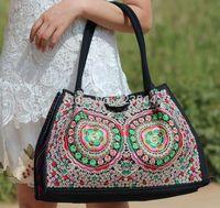 Free Shipping 2014 Women Handbag Large Size Lotus Flower Ethnic Embroidery Canvas Messenger Bag Shoulder Bag Travel Bag