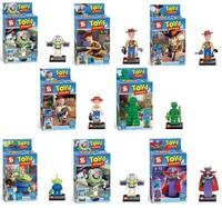 8pcs Enlighten Building Bricks Blocks Toy Story OF TFRROR Woody Buzz Lightyear Jessie action mini figures children Bricks toys