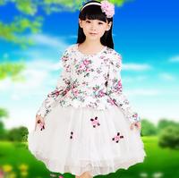 2014 Retail new arrival summer children dress fashion high quality long sleevespatchwork girls dress  princess dress M60