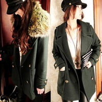 Plus Size 2014 New Korean Significantly Thin Double Breasted Woolen Coat Female Thickening Removable Fur Collar Free Shipping