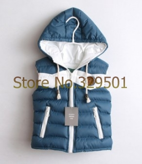 Retail 2014 Spring New Boys' Split Joint Zipper Waistcoat Hooded Winter Boy Vest Cotton Padded Waistcoat for boy/kids/baby(China (Mainland))
