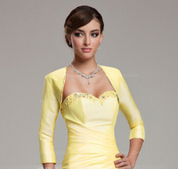 Yellow 3/4-Length Sleeve Beaded Taffeta Special Occasion Bolero