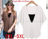 HotSale! 2014 Summer Women's Plus Size 2XL-5XL Cotton Black\White\Khaki pure color blouse deep v-neck loose tops for Female NEW