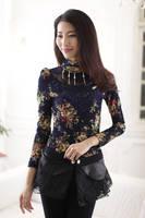 Promo !!!   2014 women's lace turtleneck slim long-sleeve basic shirt plus velvet thick free shipping