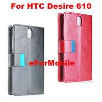 Mobile Phone Leather Case with Credit Card Slot Mobile Phone Stand For HTC Desire 610