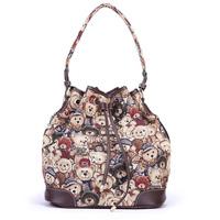 Danny Bear Printing Women Drawstring Bags Vintage Shopping Bag Fashion Shoulder Bag BFK0231