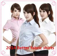 2014 Better fabric  stripe pure color shirts short sleeve  women shirts grace work shirts FREE SHIPPING FAST SHIPPING