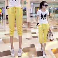 Linen 2014 female trousers plus size casual loose capris female fluid capris female harem pants