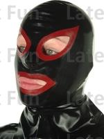 Nature Rubber Monster Hood 0.4MM Black Latex Mask Unisex Fancy