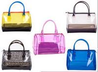 Transparent handbag jelly color bag beach bag candy color fashion bag woman summer bag LJF