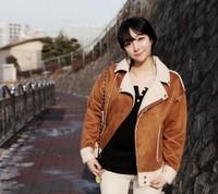 2014 Cheap winter denim cotton berber fleece compound wadded jacket fashion short woman's jacket free shipping