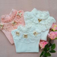 100% cotton long sleeve girls blouse spring autumn girl t-shirt bear pattern basic shirt small children wear