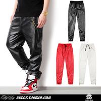 2014 New Fashion Casual Hip Hop Joggers Trousers Mens Clothing Spring Faux Leather GVC Sweatpants Male Harem Zipper pocket Pants