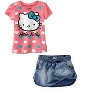ST048 Free Shipping 2014  Baby Girls 2Pcs Hello Kitty Clothing Sets Heart Print T-shirt+Denim Short Skirt Brand Kids Sets Retail