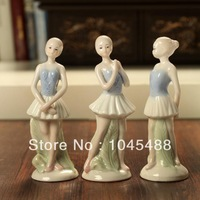 Free shipping  ceramic home decoration aesthetic ballet girl figurines decoration 3 pieces/ set