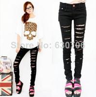 New Fashion Punk Rock Women Ripped Skinny Pants Jeans Leggings Trousers Black and White