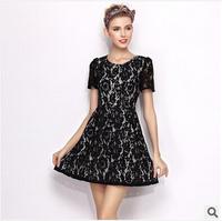 2014 summer new women's boutique in Europe Slim waist black lace dress plus size dress O-neck short sleeve Casual dress