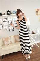 1pc/lot,2014 New summer fashion Cotton stitching women casual plus size long maxi striped dress