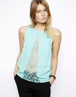 2014 women Chiffon Blouse Openwork lace placket perspective triangle design sleeveless chiffon shirt lace stitching  XS -XXL