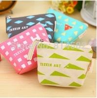 Small change purse Partysu Women wallets  The geometric pattern storage bag Canvas handbag  free shipping 8pcs/lot