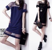 Summer Dress 2014 New Desigual Short Hollow Out Chiffon  Lace Black Blue Women Sexy Party Dresses Vestido Roupas Femininas Gowns