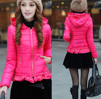 2014 new women's winter coat Korean version of Slim short section of small lace hooded cotton padded female down coat