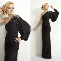 Cheap Custom-Made Beading One Shoulder Long Sleeve Evening Dresses For Muslim