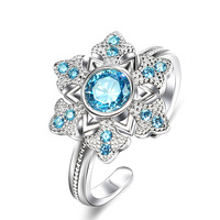 GNJ0559 Hot selling Wholesale Free shipping 925 Sterling Silver Snowflake Style Ring With Blue CZ Fashion Jewelry For Women