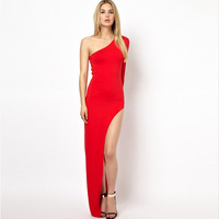 2014 New Fashion Sexy Prom Party Chiffon Blend Solid Off the Shoulder Floor-Length Asymmetrical Lady Cocktail Dress FreeShipping
