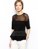 2014 women Chiffon Blouse Back zipper mesh fold fishtail hem stitching jacquard knit sleeve T-shirts Women  XS -XXL