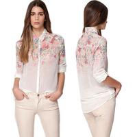 New Summer Autumn Women's Blouse Floral See-Through Women Shirt Lady Blouse Chiffon Shirt Floral Top
