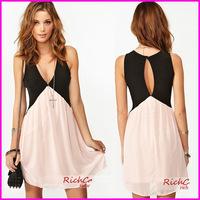 2014 New Arrival Spring Summer Dress Women Sexy Deep V-neck Patchwork Stitching Back Hollow Chiffon Vest Dress Sleeveless A5679