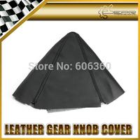 EPR - Universal Fit No Logo Gear Shift Knob Cover PU Leather Gaiter Sleeve Glove Collars Black Stitch