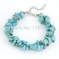 Colorful Irregular gravel beads bracelet Double Rows stone beads Bracelet Bangles For Women Free Shipping
