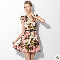 New 2014 Women Summer Dress Short Sleeve Dress Women Silk Dress Ball Gown Printing Dress Retro elegant pleated Free Shipping