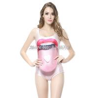 2014 hot sale new women printed swimsuit red lips pellets swimwears 3D swimwears sexy one piece swim suits