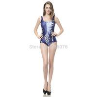 2014 hot sale new women Printed swimsuit blue hexagon ring swimwears 3D Printed swimwears sexy one piece