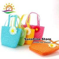 Sunshine store 8z031 10pcs/lot(8 colors) Straw knitting sweet handbag children accessories girl summer beach women shoulder bags