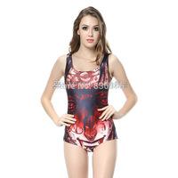 2014 hot sale new women Red pattern printed swimwears 3D swimwears sexy one piece swim suits