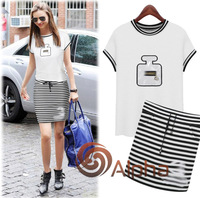 2014 Summer European New Arrival Stripe Women Dress Set Short Brand Celebrities Style Women Fashion Set S--XL