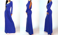 2014 New Summer Dress Womens Minimalist Backless Open Back Slip Long Maxi Cocktail Party Dress free shipping