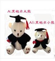 Free shipping,6pcs/lot Plush graduation bear. black cloth and white body.3pcs of 17cm big and 3pcs of  12cm small bear.