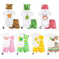 Baby romper short sleeve cotton romper baby infant cartoon Animal newborn baby clothing romper+hat+pants 3pcs clothing set