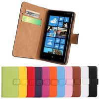11Color,Genuine Leather Wallet Stand Case For Nokia Lumia 820 Mobile Phone Bag Cover with Card Holder Black