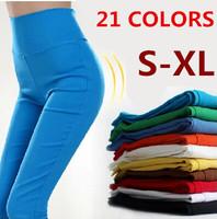 Plus Size S-XL New 2014 Autumn Women's Candy Color Pencil Pants Skinny Pants Slim Trousers Fit Lady Jeans 21 Colors