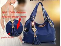 2014 New Arrived Quality Metal Genuine Leather Bag, Shoulder Bag,leather bags,bolsas,handbags,women leather handbagsTassel bag