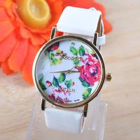 2014 New Fashion PU Leather GENEVA Rose Flower Watch For Women Dress Watch Quartz Watches,Free Shipping Wristwatch