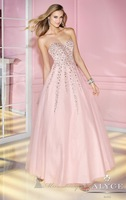 Hot Sell ! Long Strapless Tulle Most Beautiful Prom Dresses,Ball Dress 2014 with Tonal Embellishments Scattered the Bodice