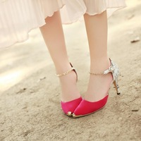 free-shipping Hot Selling 2014 Fashion sexy Style Women Pumps PU High thin Heels platform double color Shoes sandals