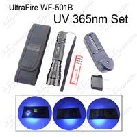 (UV Flashlight Set) 1pc UltraFire WF-501B UV 3W 365nm LED Testing Flashlight Lamp + 1pc Charger + 1pc Battery + 1pc Holster